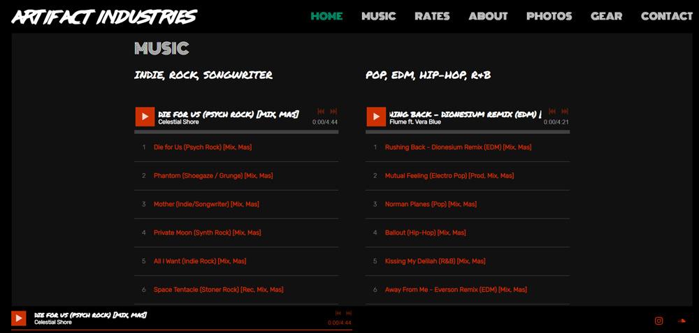 Artifact Industries Recording Studio Website Example