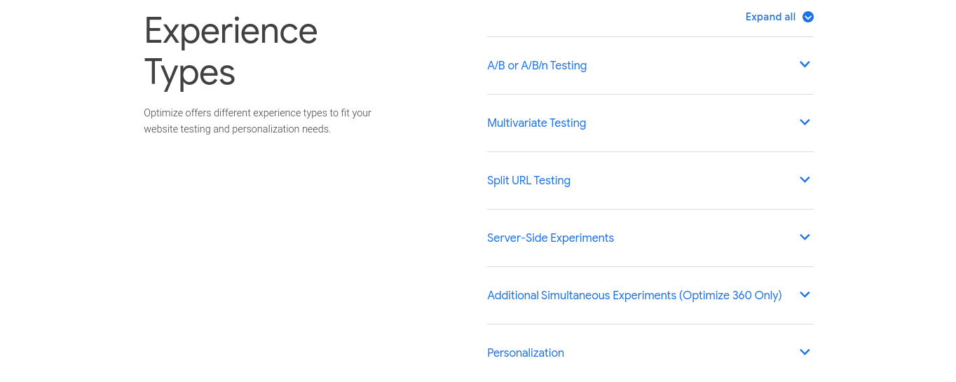 """Google Optimize features: """"Experience Types"""""""