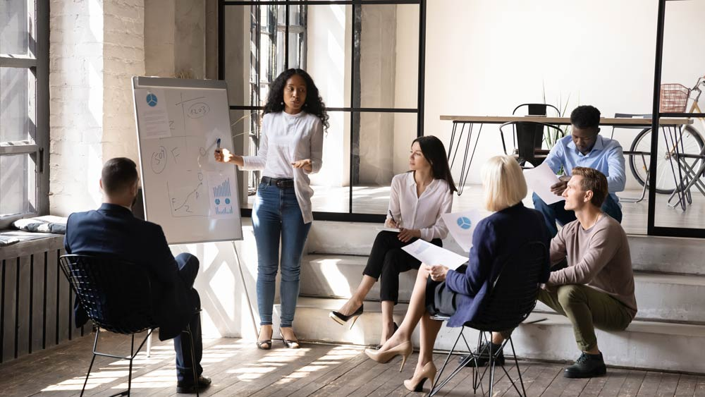 woman giving a presentation to a group of professionals