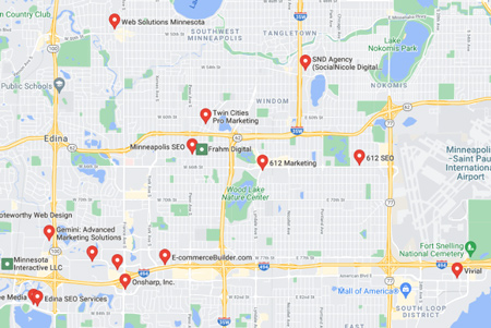"""local search result for the keyword """"seo company near me"""""""